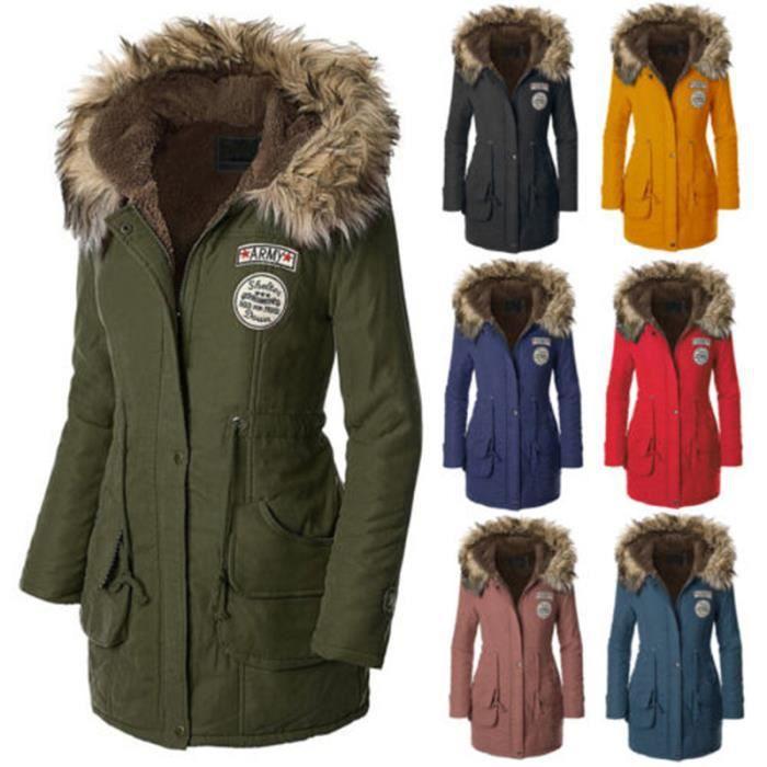 manteau polaire femme doubl parka chaud hiver vert. Black Bedroom Furniture Sets. Home Design Ideas