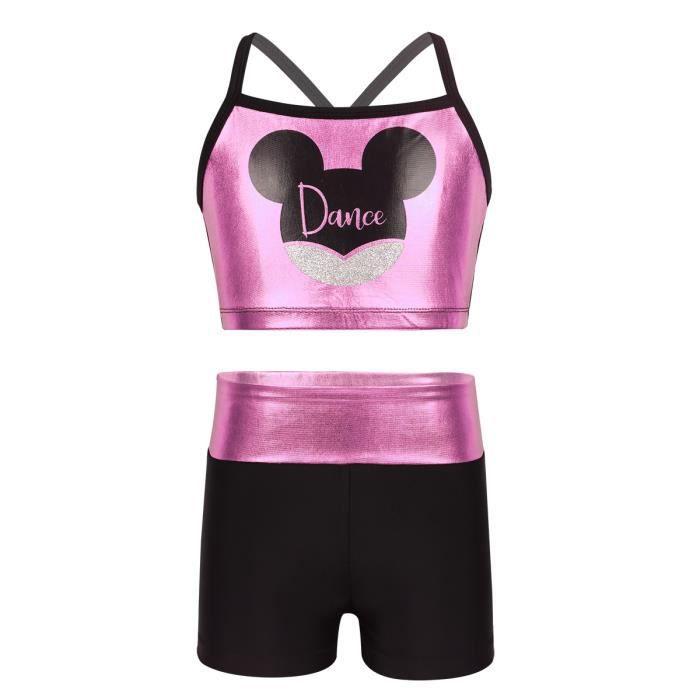 Enfant Fille Débardeur de Sport avec Shorts 2 Pieces Outfit Costume de  Danse Dancewear 4-12 Ans Rose 5d88bba8338