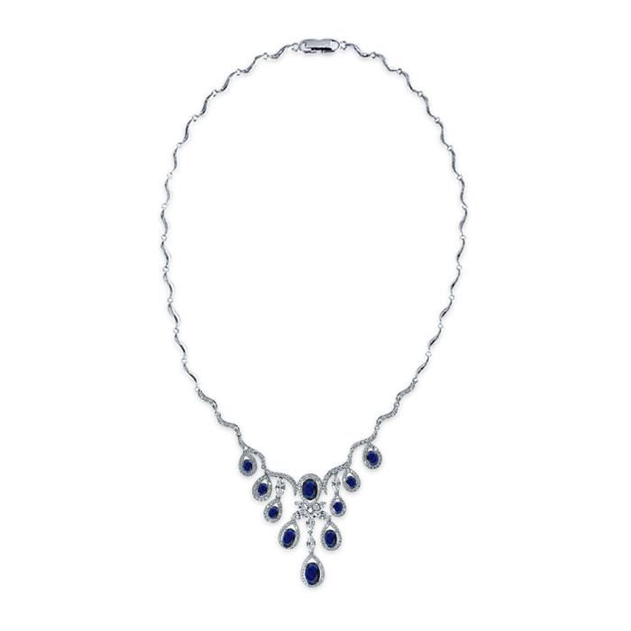 Bling Jewelry Teardrop plaqué rhodium CZ Saphir simulées Suite Nuptiale Collier Goutte vague 16 pouces