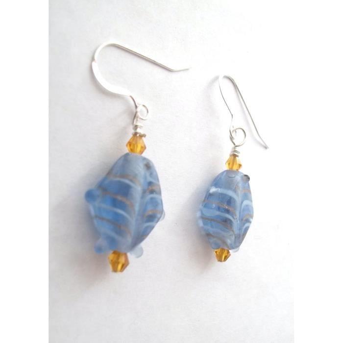 Womens Blue Fish Lampwork Dangle Earrings FTSJY