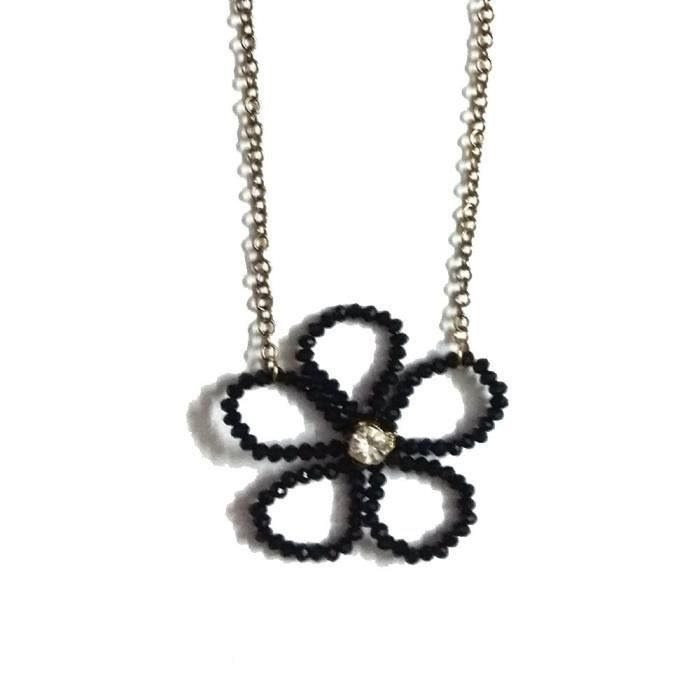 Womens Black Alloy Blossom Flower Necklace With Stones ForLX50Z