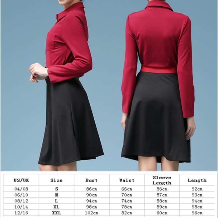 Robe rouge manches longues A-forme Stitching robe de couleur
