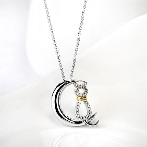 Glamorousky 925 pendentif en argent sterling Cat avec élément cristal autrichien et collier (23969)