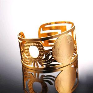 8c0d839316e U7 Bracelet Rigide-Acier INOX-Plaqué Or Jaune-Carte d Afrique-Demi  Jonc-Chic Accessoire-Bijoux pour Homme-Femme