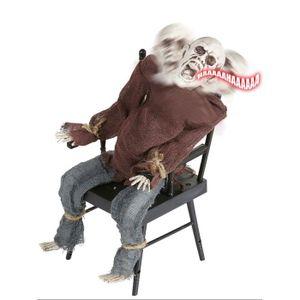 Déco de fête murale Décoration articulée et sonore homme sur chaise él
