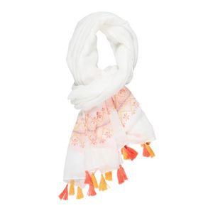 ECHARPE - FOULARD DEELUXE - Cheche Blanc en Tissu Avec Pompons