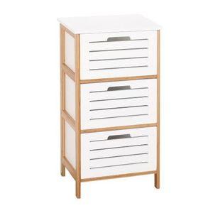 Petit meuble de rangement laque blanc achat vente for Commode salle de bain bambou