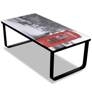 TABLE BASSE Superbe Table basse en verre Design cabine télépho