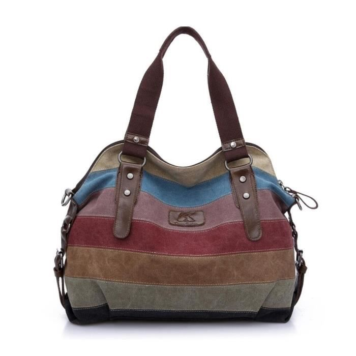 Toile multi-couleur rayures fourre-tout Casual Sacs à main Top Handle Cross Body BagHS0SA