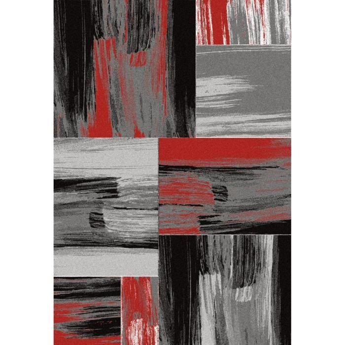 Tapis de salon Lima rouge, gris et noir 160x230 cm