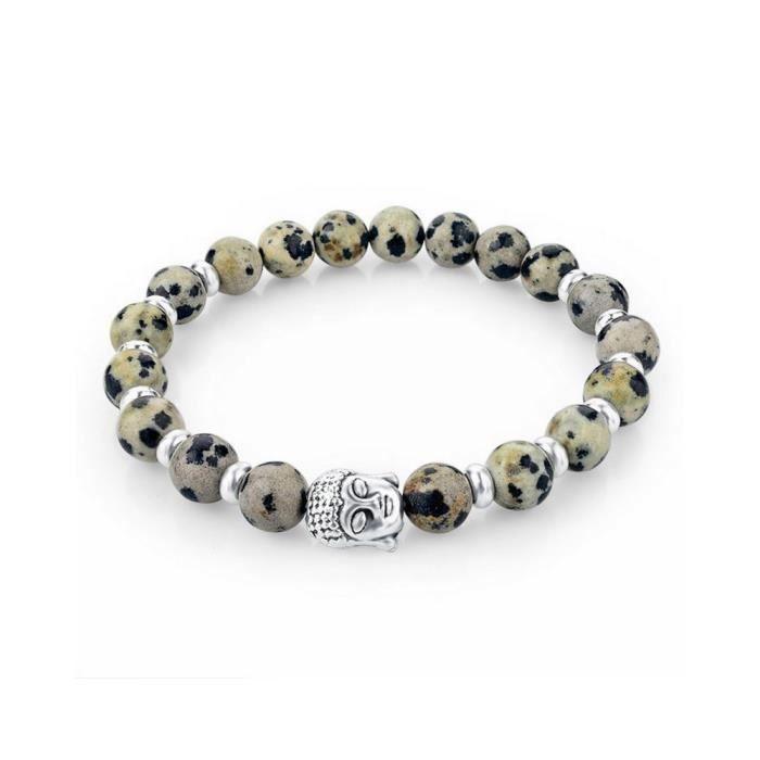 Bracelet Stretch en Pierres Naturelles Beiges et Tête de Bouddha Argentée - Blue Pearls
