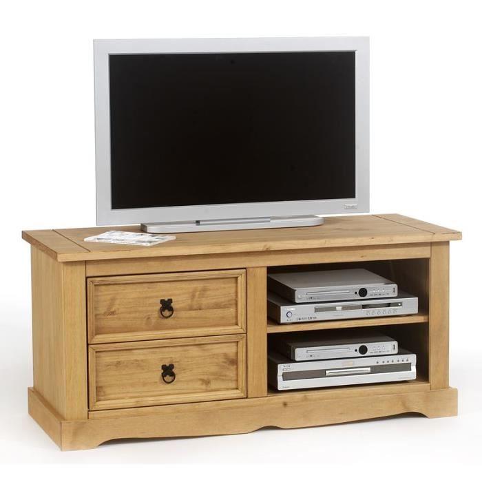 MEUBLE TV Meuble TV 2 tiroirs en pin massif TEQUILA 2T