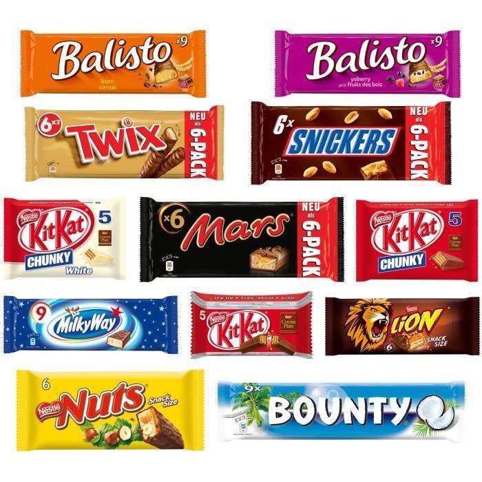 assortiment carton mars et nestl 81 barres de chocolat achat vente confiserie de chocolat. Black Bedroom Furniture Sets. Home Design Ideas