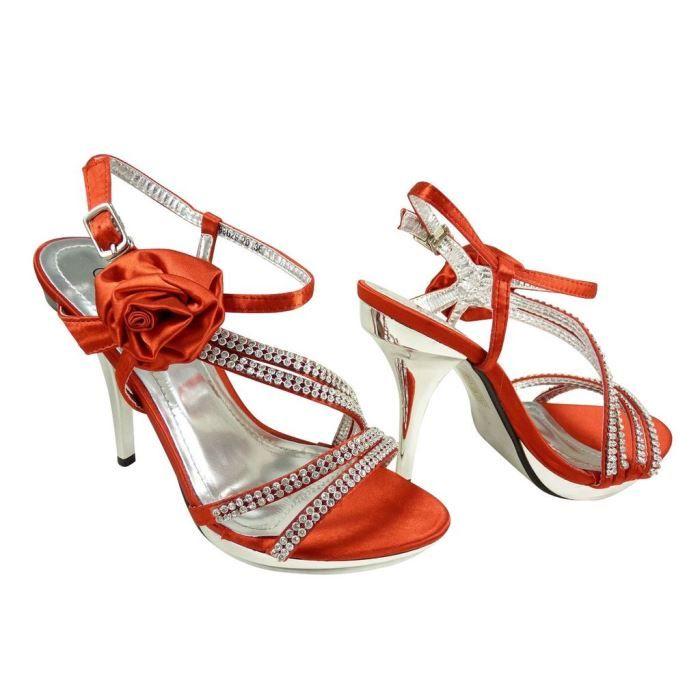 Chaussures de mariage ouvertes à f Rouge V2Ztdm