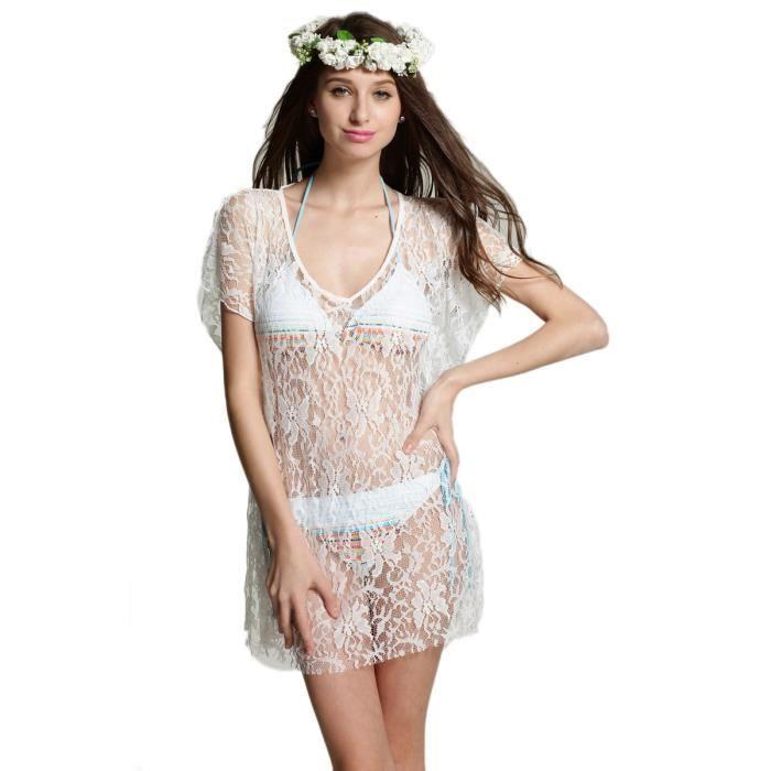 Robe de plage dentelle nikky blanc achat vente robe de plage cdiscount - Sortie de plage femme ...