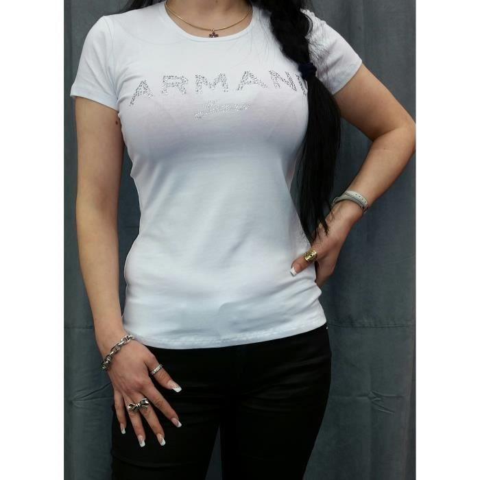 6386f3a11ed7 Tee Shirt Armani Jeans Femme Manches Courtes Blanc Blanc BLANC ...