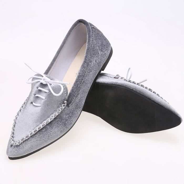 Chaussures flâneurs occasionnels Femme Peluches occasionnels plat Point Toe solide