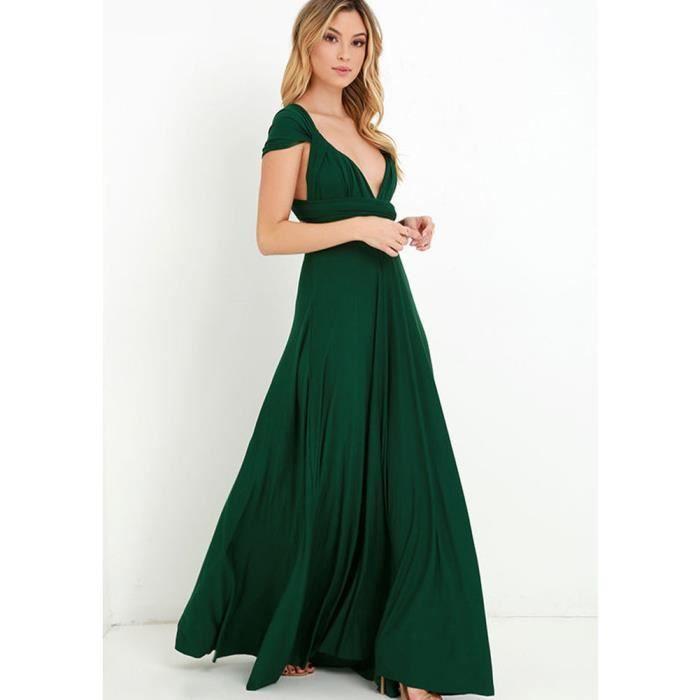 06b1505801d Robe de soirée cocktail robe de plage femme haute taille sexy longue  élégante moderne multi - fonction vert