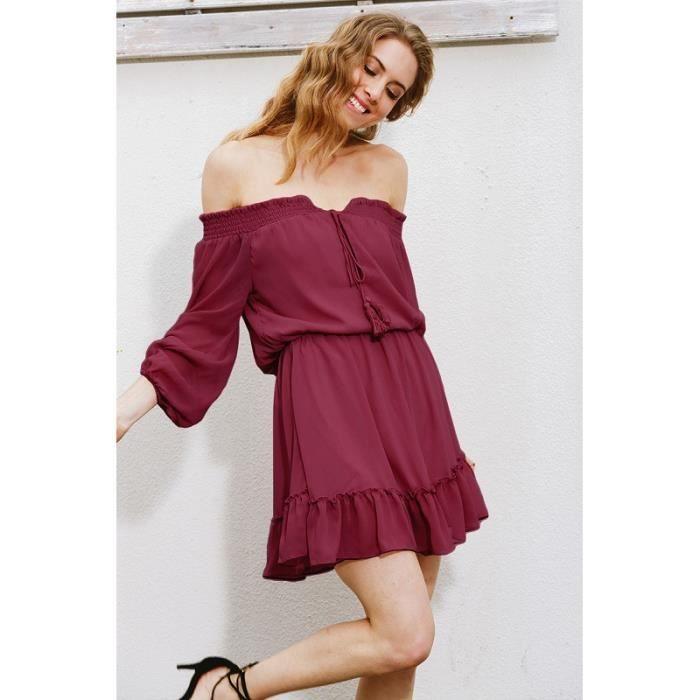 Taille plus sexy femmes v col robe feuille de Lotus forme Falbala un mot épaule courte jupe sans manches robe taille