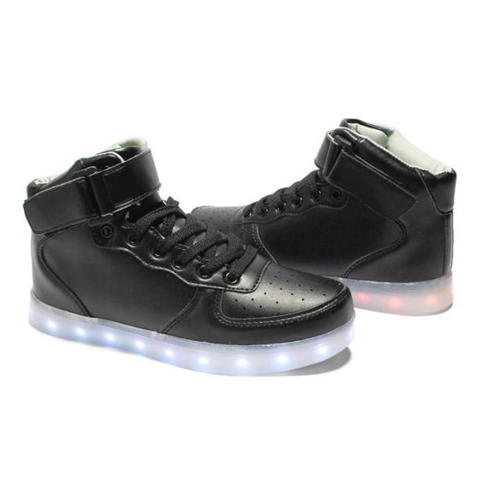 Chaussures en lumineux baskets rougeoyantes impermeables USB chaussures cuir espadrilles femmes d'hommes lumineuses chargement de 0qrwS0