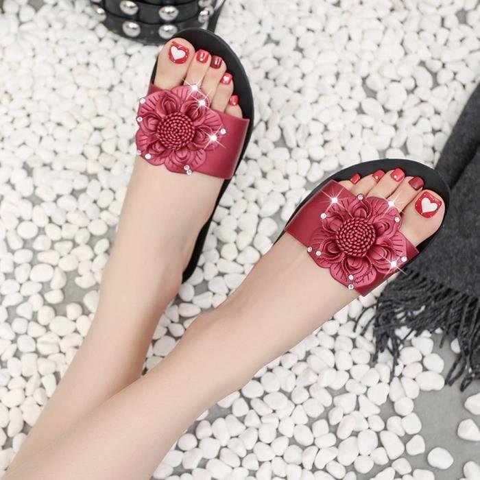 Été fleur douce femmes tongs plats bohème sandales plage pantoufles@hyu-650