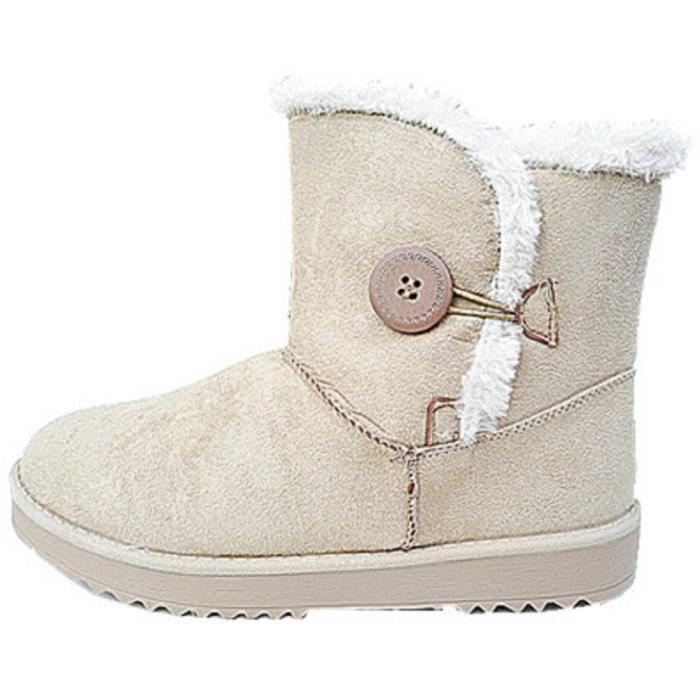Fashionfolie888 - Femme Fille Bottine botte Chaussure fourrées fur boots Plat Talon 816 BEIGE