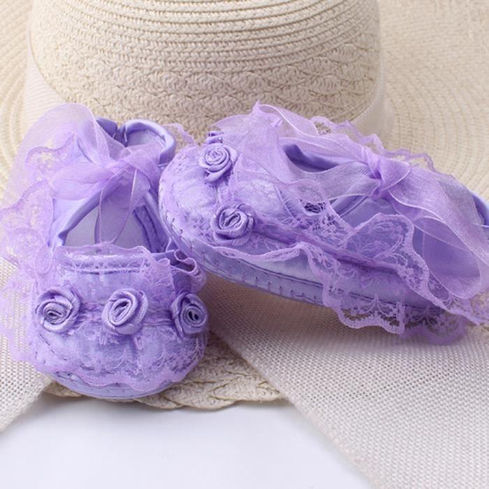 BOTTE Bébé Fille Dentelle Douce Dentelle Riband Anti-dérapant Décontracté Princesse Chaussures Toddler@VioletHM