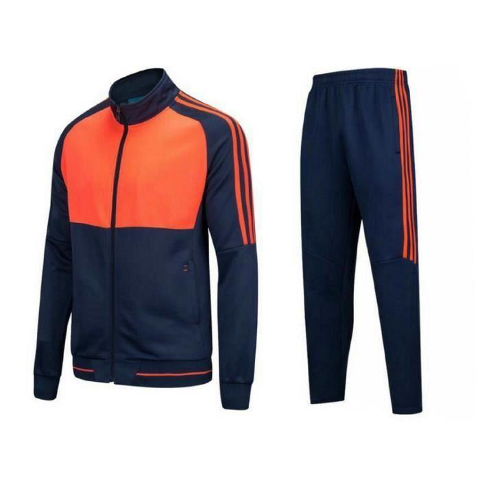 Survetement Hommes et Femmes Vêtements de Football Kit Veste Pantalon de  Sport Ensemble d entrainement Manches Longues Orange c7b4624470f