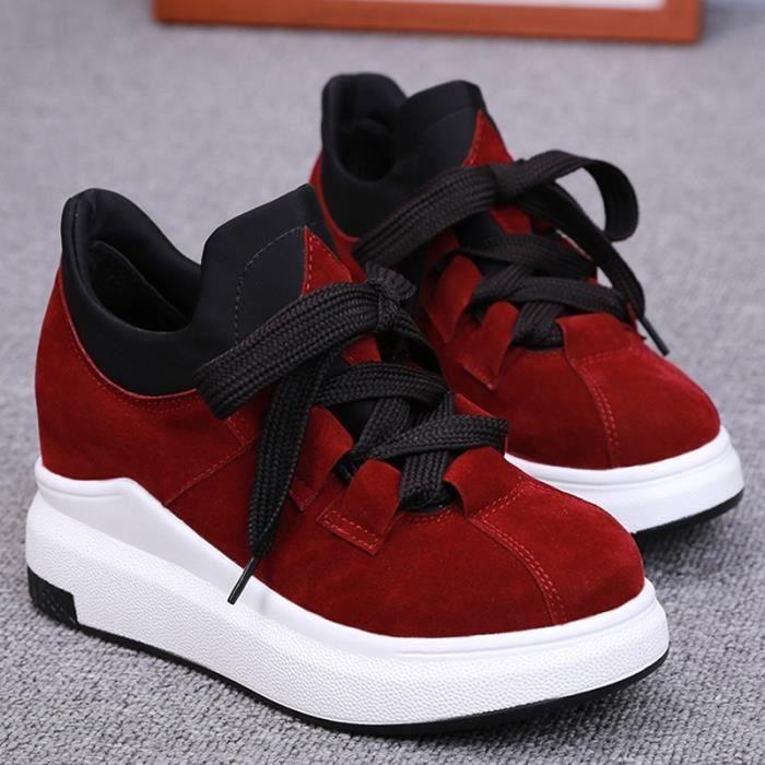 chaussures multisport Femme Automne - hiver de femme Souliers Slip-on à haut talons Mocassins noir taille6.5