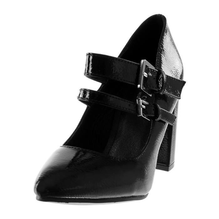 Angkorly - Chaussure Mode Escarpin Decolleté femme verni multi-bride grainé Talon haut bloc 9 CM - Noir - 66602 T 40