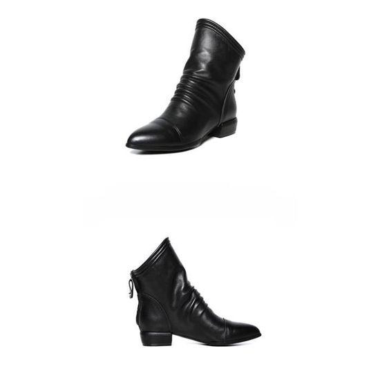 Bas Féminine Talons À Zip Frandmuke11145 Mode Moyen Carrés Volants Chaussures Bottes Solides De n1w4OYqd