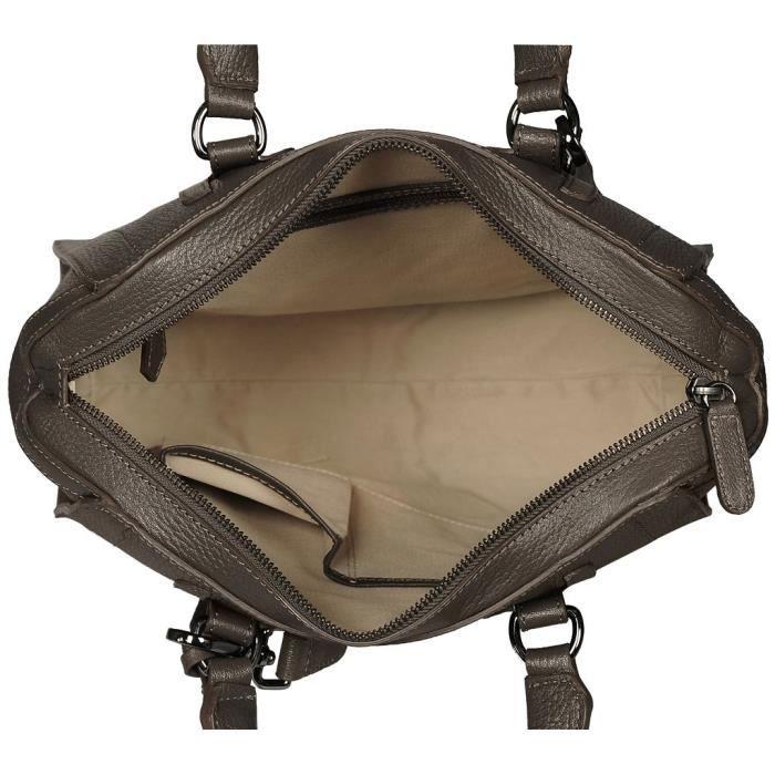 POON Femmes Sac à main et sac en bandoulière en cuir Fumo