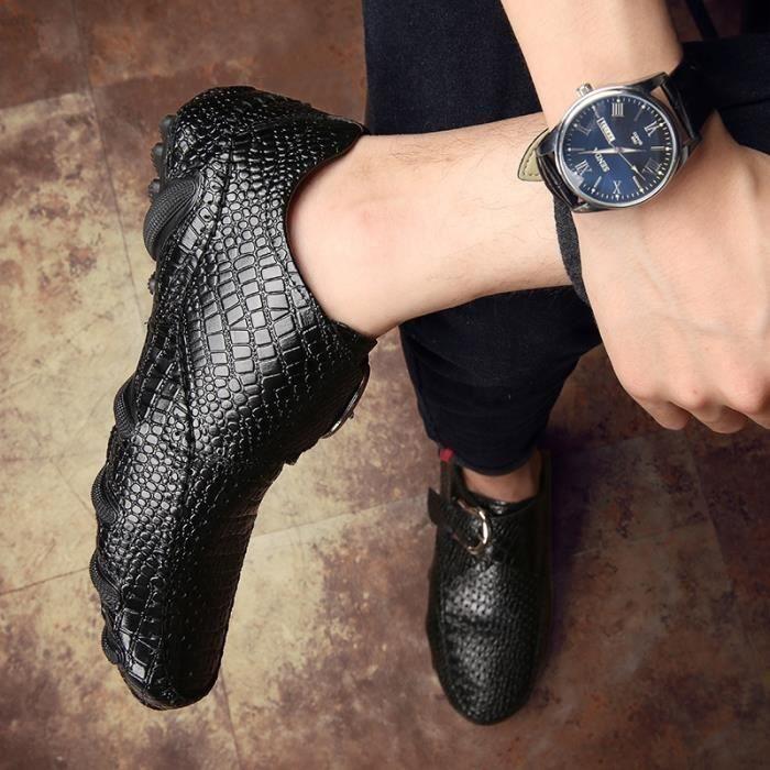 chaussures multisport Homme de conduited'affaires respirante Mocassins en cuir décontractée avec Buckles noir taille47