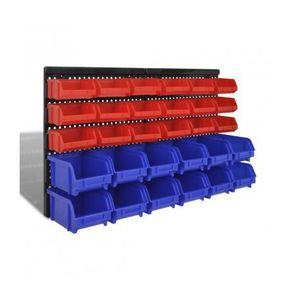 DESSERTE CHANTIER Bac à bec 30 pièces en rouge et bleu avec panneau