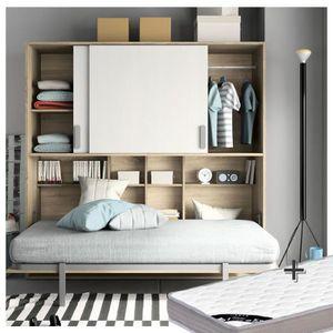 lit escamotable achat vente lit escamotable pas cher cdiscount. Black Bedroom Furniture Sets. Home Design Ideas