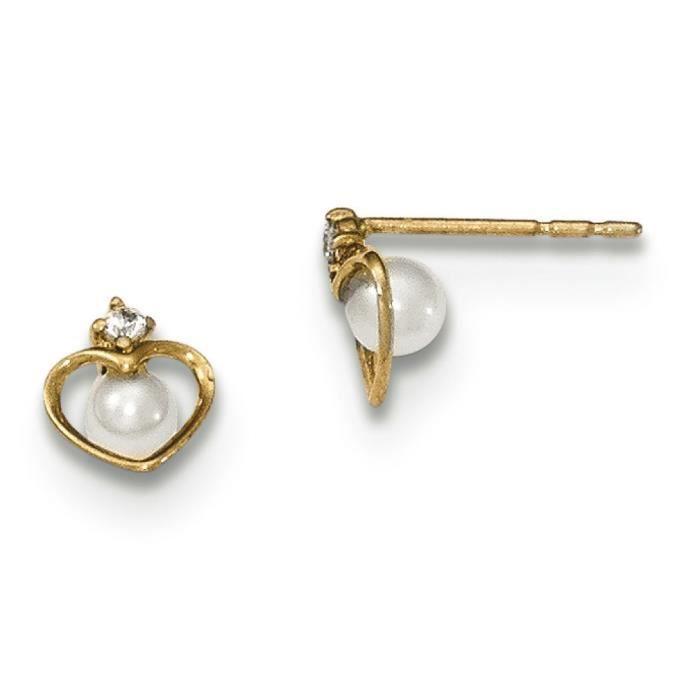 Or 14 carats avec perle de culture et zircone cubique en forme de cœur