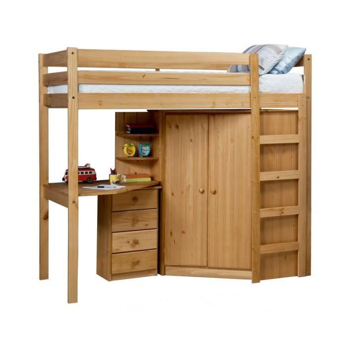 lit haut avec armoire d 39 angle 39 anglio 39 achat vente lit combine lit haut avec armoire d 39 ang. Black Bedroom Furniture Sets. Home Design Ideas