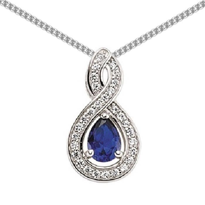 Jewelco London Plaqué Rhodium Argent Sterling Bleu et Blanc CZ Lèvre infinie pendentif Collier 45cm