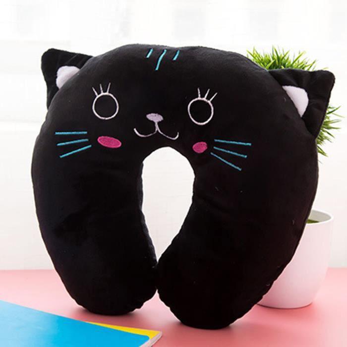 oreiller de voyage forme u coussin chat noir pour vol bus train bureau prot ger le col achat. Black Bedroom Furniture Sets. Home Design Ideas