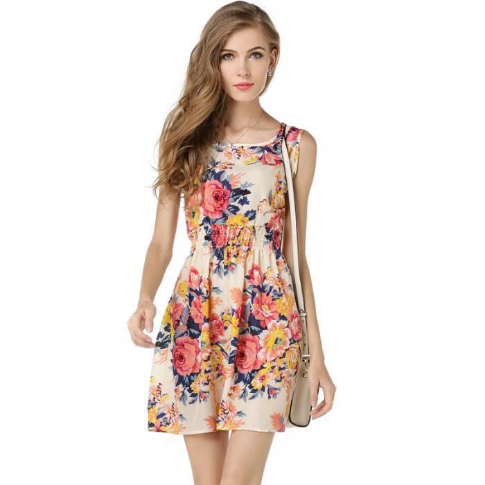 robe d t fleurie femme courte pas cher rose achat vente robe soldes d s le 10 janvier. Black Bedroom Furniture Sets. Home Design Ideas