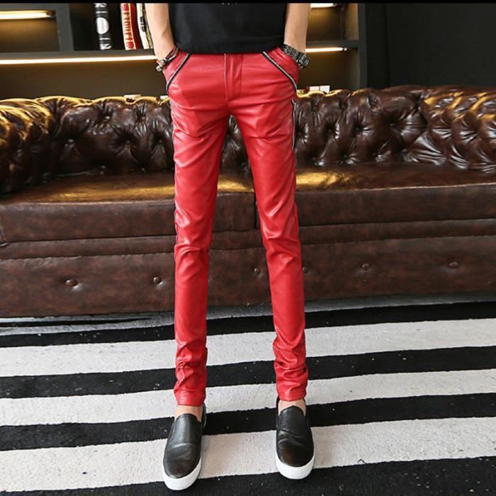 3a5cd8b9559f9 Slim en cuir pantalons pour hommes Rouge Rouge - Achat / Vente ...