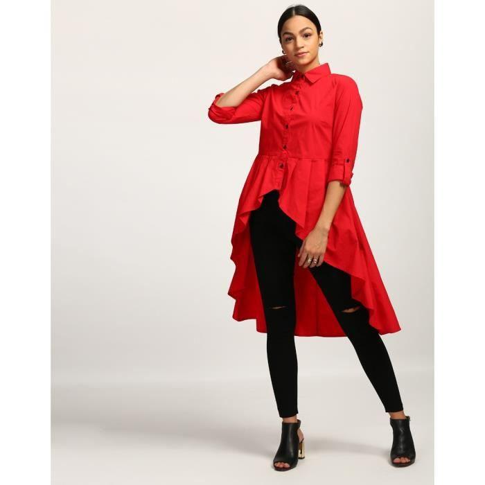 Trendtwo Rouge Eddie plissés Chemise rouge plissée Georgette Chemise décontractée de la femme HJCDR