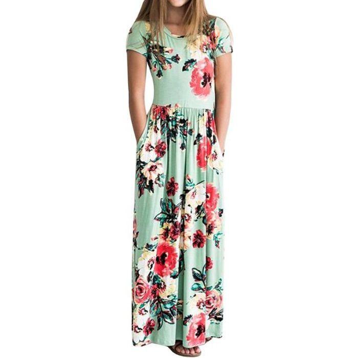 plus récent d856a bfeaf Robe Longue Fille Manches Courte Été Imprimé Fleur Robe Enfant Fille 2-10  ans