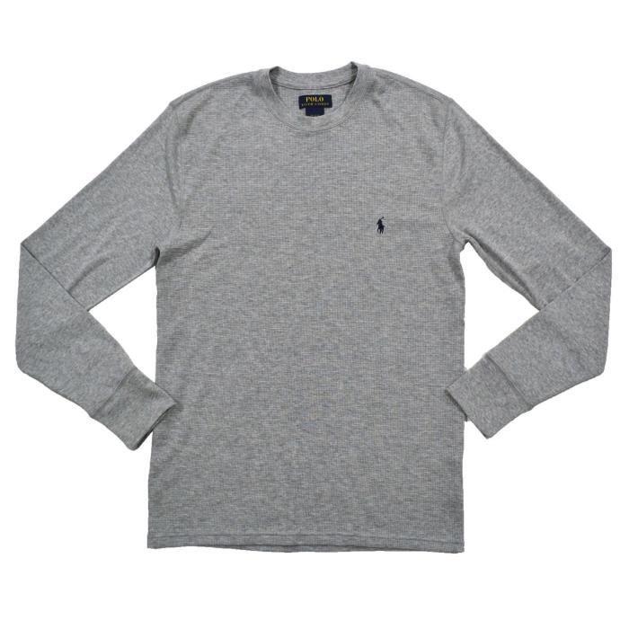 POLO RALPH LAUREN NOUVEAU Gris Petit S Waffle Knit T thermique T shirt homme 1PL57I Taille M