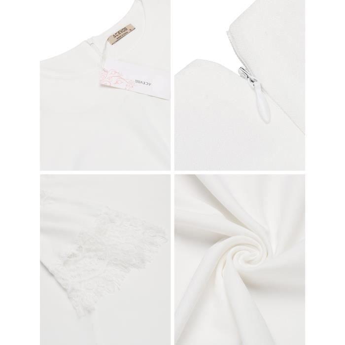 Robe de soirée à encolure en dentelle à manches longues