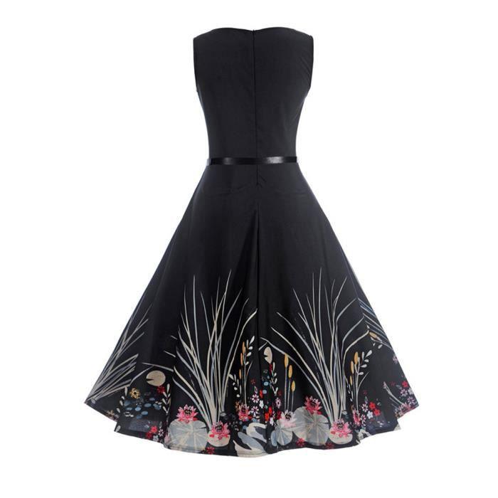 Femmes Vintage Impression Moulante Sans Manches Occasionnel Soirée Balançoire Prom Swing Dress @ zf20