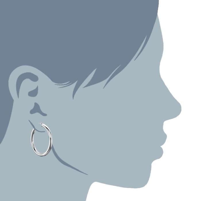 Boucles doreilles- 10k blanc 3 mm brillant Tube rond Hoop boucles d'oreilles or, diamètre 30mm