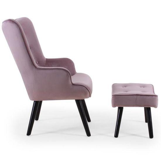 b22868bd42c59b Fauteuil scandinave + pouf Lylou Velours Rose - Achat   Vente fauteuil Rose  Velours   Bois,Tissu - Cdiscount