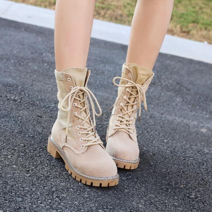 Plateforme Plat Épais Femmes Bottes Talon Hiver beige Chaussures Automne Mesdames Dentelle Libaib wpqTXYp