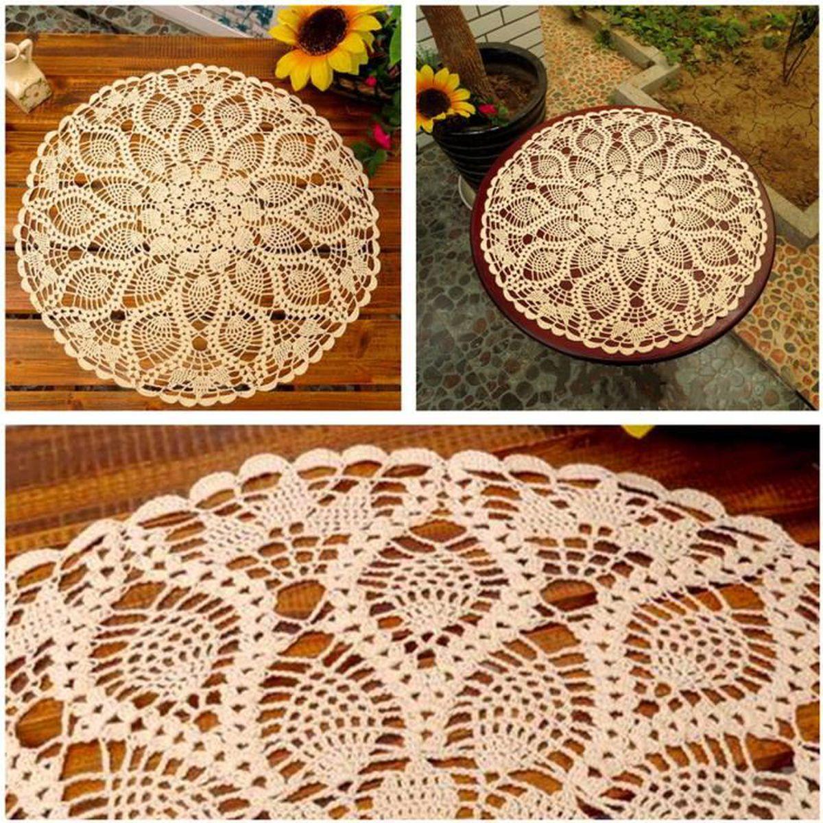 Grand Napperon Au Crochet tout 60cm napperon nappe tabletapis ronde coton lace dentelle floral main